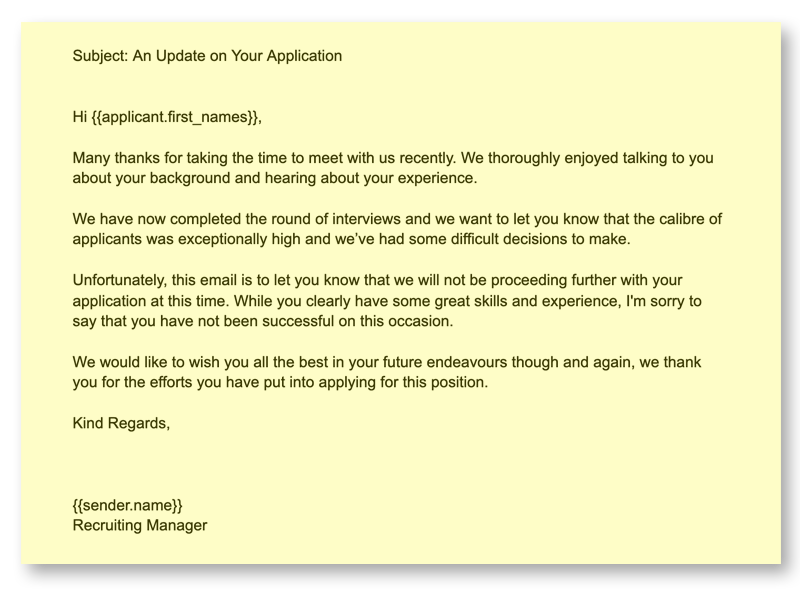 Recruiting Emails 10 Rejection after Interview