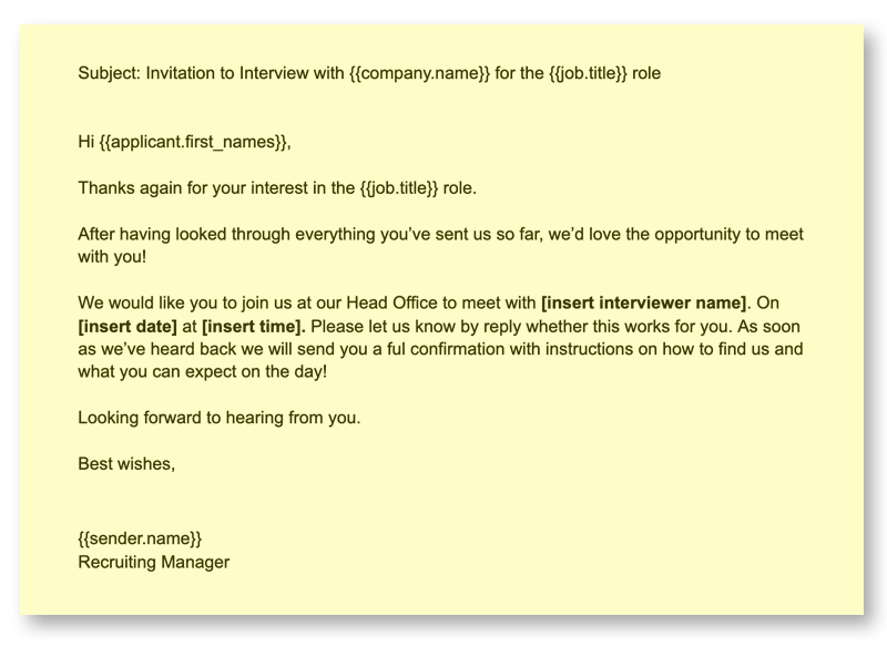 Recruiting Emails 4 Interview Invitation