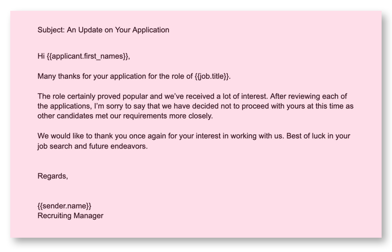 Recruiting Emails 9 Rejection after Application